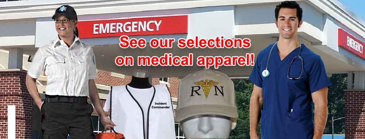 Professional Medical Apparel, medical scrubs, EMS apparel, women's scrub tops, uniform shirts, and more