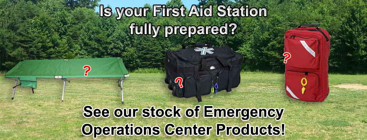 Kits and systems for First aid Stations, for outdoor events, emergency first aid stations, disaster shelters, medical aid stations and more