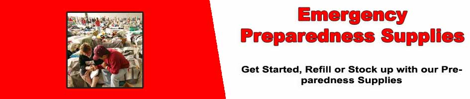 Emergency preparedness supplies for home business and community disaster preparedness
