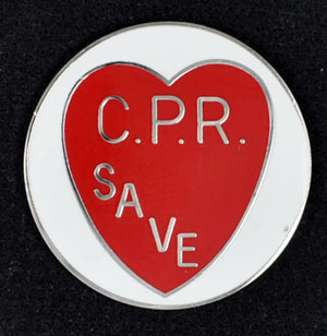 CPR Save with Red Heart Pin