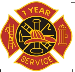 1 year Fire Service pin - Red and Black Design