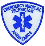EMT Shield Patch Blue on White