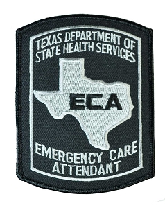 Texas Emergency Care Attendant Patch - Grey on Black
