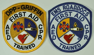 Embroidered Patch - First Aid AED CPR Trained 3.5 inch CUSTOMIZED for Your Company