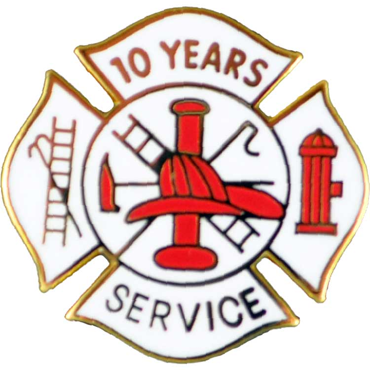 Our 10 year Fire Dept. Years of service pin