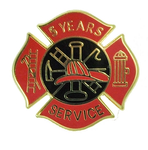 5 years Fire Service pin - Red and Black Design