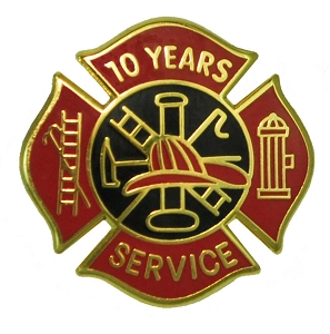 10 years Fire Service pin - Red and Black Design