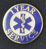 1 Year EMS Service Pin Years of service pins