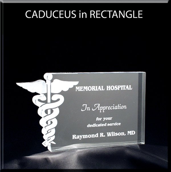 Medical Caduceus in Rectangle Award - Large 6x6