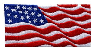 Waving American Flag patch 2x4