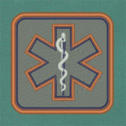 Reflective Square Star of Life Patch 3 x 3