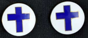Chaplain Cross Round Emblem Pins - Pair