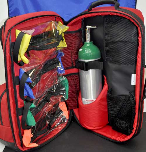 O2 / Trauma / AED Backpack (Red) - Empty Bag
