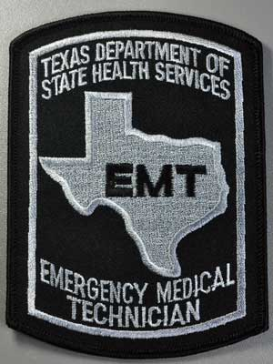 Texas EMT Patch - Black on Grey