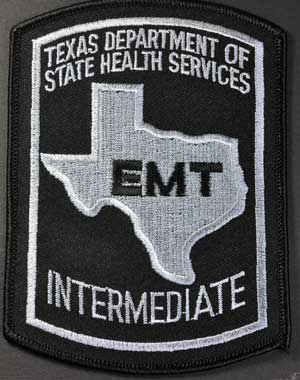 Texas EMT Intermediate Patch - Black on Grey