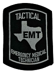 Texas TACTICAL EMT Patch - Black on Grey
