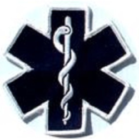 "Star Of Life die cut 4"" Embroidered Patch"
