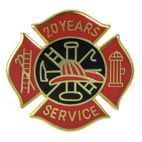 20 Years Fire Service pin - Red and Black Design