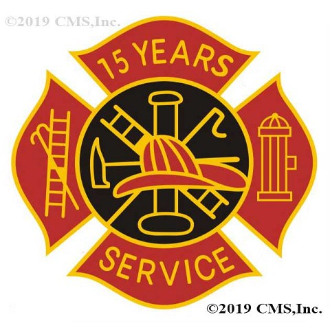 15 years Fire Service pin - Red and Black Design