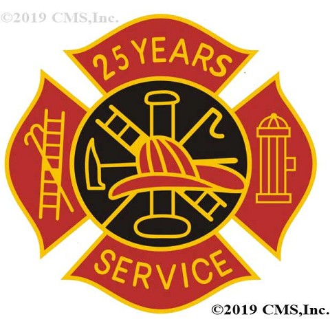 25 Years Fire Service pin - Red and Black Design