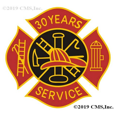 30 Years Fire Service pin - Red and Black Design