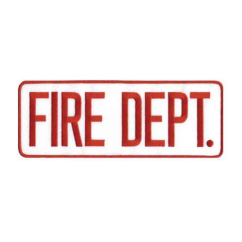 Fire Dept Back Patch Red on White