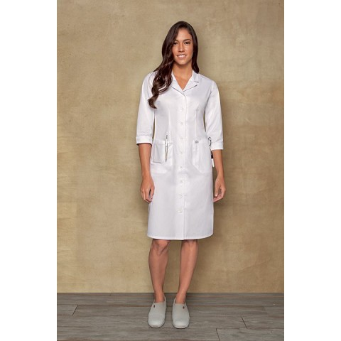 Button Front Three-Quarter Sleeve Scrub Dress