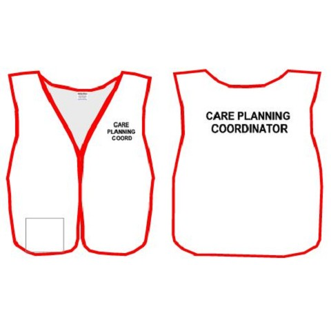 HICS - White fabric Split Front Vest with Custom Titles