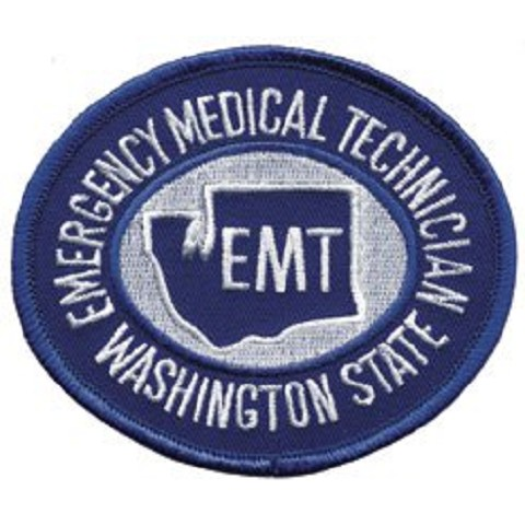 Washington State EMT Patch White on Royal Blue