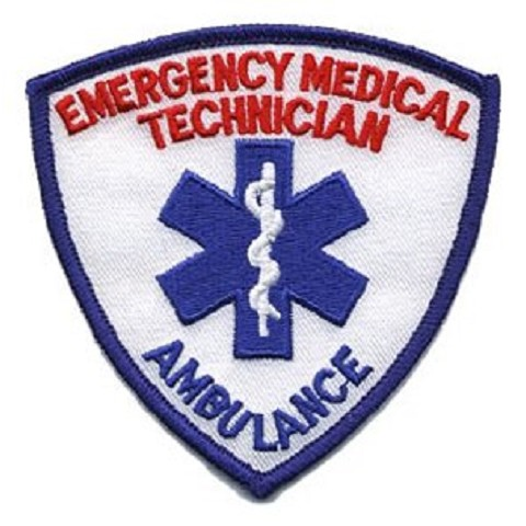 EMT Shield Patch Blueand Red on White